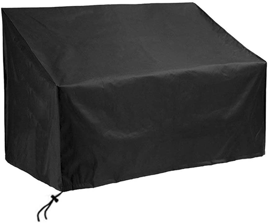 SIRUITON Garden Bench Cover 2 Seat Loveseat Bench Cover 420D Waterproof Oxford Fabric Rip-Proof, UV & Water-Resistant Black 51.57x27.16x25.59/35in(131x69x65/89 cm)
