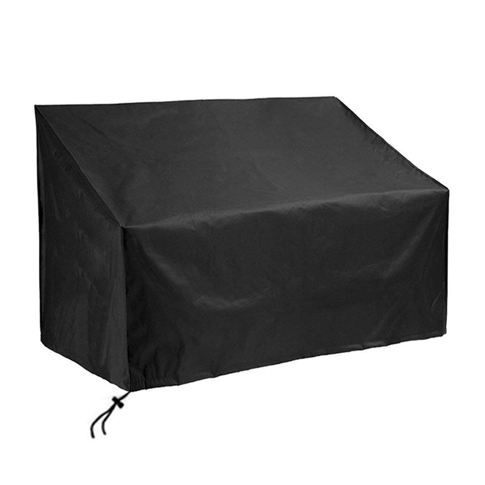 SIRUITON Garden Bench Cover 4 Seat 420D Waterproof Oxford Fabric Rip-Proof, UV & Water-Resistant Black 185x69x65/96 cm