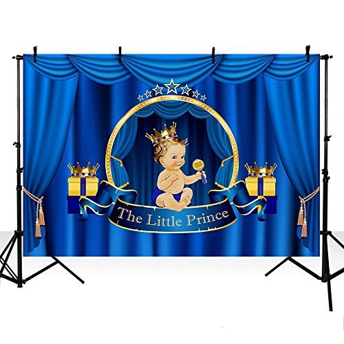 MEHOFOTO Little Prince Baby Shower Photo Studio Booth Background Royal Blue Curtain Boy Birthday Polyester Backdrops Banner for Photography ()