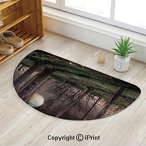 LEFEDZYLJHGO Customized Half Moon Rug for Bathroom Half Circle Rug,Dark Night in The Forest with Full Moon Horror Theme Grunge Style -