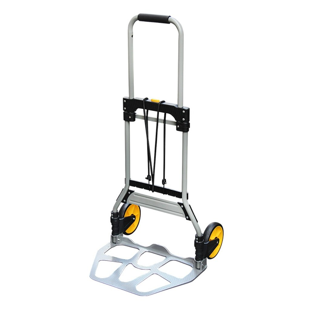 Jian E Telescopic Folding Portable Trolley Hand Truck Luggage Cart Aluminum Alloy Rod Van Industrial Silent Trolley Travel Shopping Cart Load 75 Kg