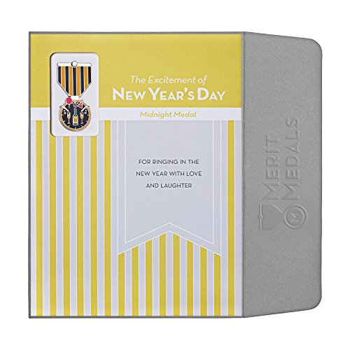 NEW YEAR'S DAY Greeting Card & Gift (Lapel Pin / Necklace Charm) Holiday Thank You Note by Merit (Parade Quality Costume)