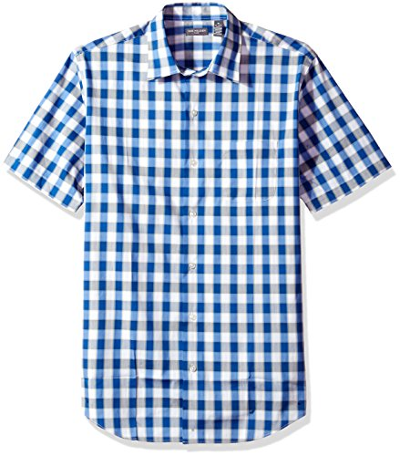 Van Heusen Men's Flex Stretch Short Sleeve Non Iron Shirt, Grecian Check, Medium