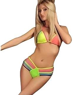 c18f4387b74df Lovely Quality Padded Bra Bikini Multicoloured Elasticated Ties Size 8-12