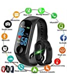 SR Global M3 Fit Band Activity Tracker Heart Rate Monitor, Sleep Monitor, Calore Burned OLED Display Activity Tracker Bracelet Wristband USB Charging for Android iOS (Black) Model 144994