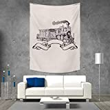 smallbeefly Vintage Beach Throw Blanket Old School Steam Locomotive with Banner on an Off White Background Monochrome Vertical Version Tapestry 40W x 60L INCH Cream and Black