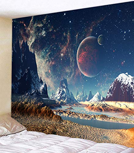 (UHUSE Fantasy Planet Tapestry Wall Hanging - Future Cosmic Stars Galaxy Nebula Psychedelic Scene Art Bedroom Living Room Dorm Home Decor 59X79 Inch)