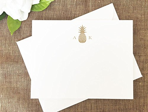 Pineapple Thank You Notes, Pineapple Monogram Stationery, Personalized Wedding Stationery Set by Lolo Lincoln