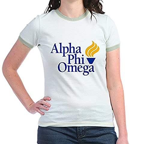 CafePress - Alpha Phi Omega Fraternity Logo - Jr. Ringer T-Shirt, Slim Fit 100% Cotton Ringed Shirt