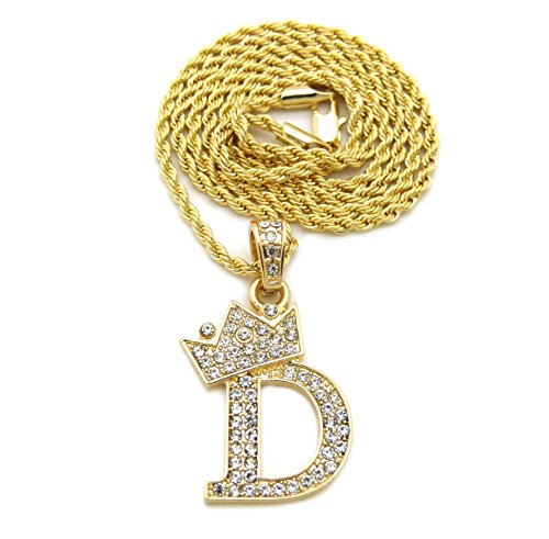 Fashion 21 Unisex Small Size Pave Crown Tilted Initial Alphabet Letter D Pendant Various Chain Necklace in Gold Tone (Gold - 2mm 20