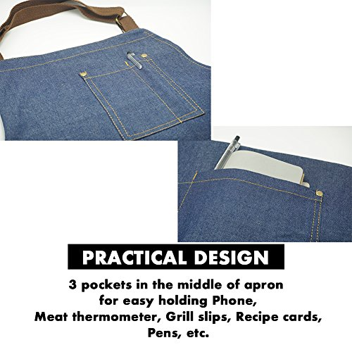 DR.ELK Adjustable Denim Jean Aprons with 3 Pockets for Women Men Chef Barista Bartender Painter in Cooking Kitchen Bistro Cafe,Denim Jean 1,One Size by DR.ELK (Image #8)