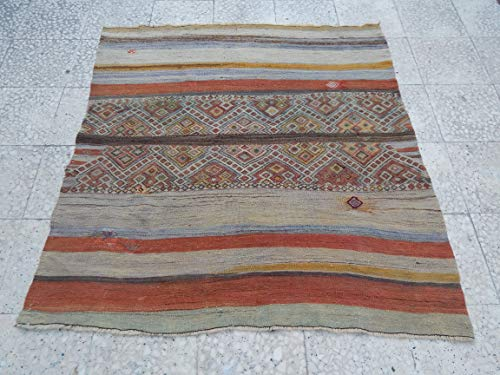 Handmade Small Bathroom Mat, Anatolian Oushak Runner, Eclectic Bohemian Decor, Nearly Square Stripe Kilim Rug Vintage Turkish Wool Rug 4.2 x 4.4 Ft (128 x 133 Cm)