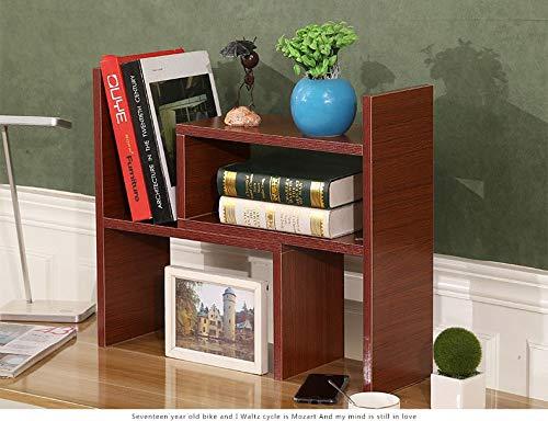 Wood Organizer Desktop Multi Purpose (VONOTO Desk Storage Organizer Adjustable Desktop Display Shelf Rack Multipurpose Bookshelf for Office Kitchen (Teak))