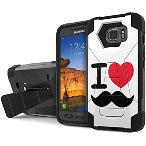 AT&T [Galaxy S7 Active] Armor Case [NakedShield] [Black/Black] Tough ShockProof [Kickstand] Phone Case - [I Love Mustache] for Samsung Galaxy [S7 Active] Sales