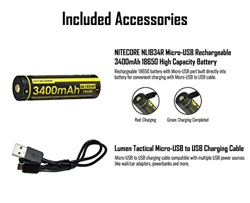 NITECORE MT21C 1000 Lumen 90 Degree Tiltable Head Multifunction LED  Flashlight with 1x 3400mAh USB Rechargeable Battery and Lumentac Charging  Cable