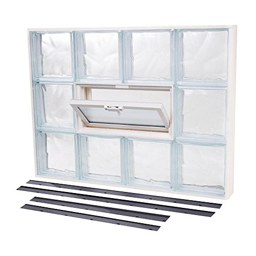 TAFCO WINDOWS NailUp2 39-3/8 in. x 21-7/8 in. x 3-1/4 in. Vented Wave Pattern Replacement Glass Block Window by Tafco Corp.