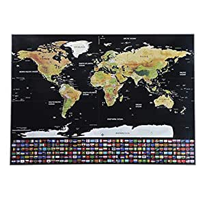 scratch off map of the world poster 32 x 23 travel map poster with us states and. Black Bedroom Furniture Sets. Home Design Ideas