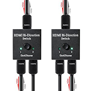 HDMI Switcher 2 Ports Bi-direction Manual Switch 2 x 1 / 1 x 2 HDMI Hub-HDCP Passthrough-Supports Ultra HD 4K 3D 1080P By DotStone by HTR007