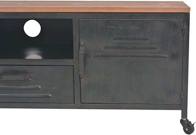 Nishore Mesa para TV con 1 Caj/ón 1 Estante y 2 Armarios Mueble Comedor de Estilo Industrial y Antiguo Decorativa para Dormitorio Estar Acero Galvanizado Negro 120 x 30 x 43cm