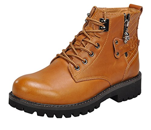 Serene Mens Leather Uppers Zipper Boots Shoes(7.5 D(M)US, Brown)