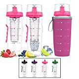 Best Fruit Infuser Water Bottle 32 Ozs - Infuser Water Bottle Large 32oz Hydration Timeline Tracker Review