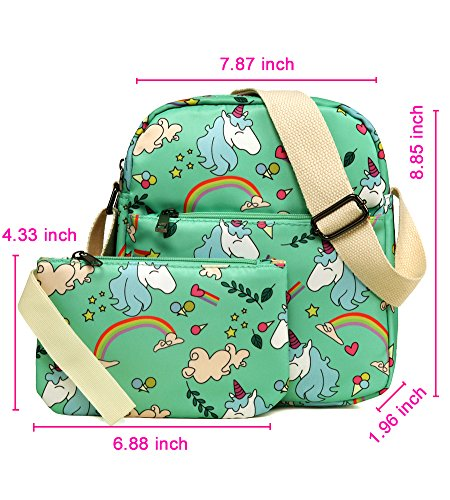 Kemy's Inicorn School Backpack for Girls Set 3 in 1 Cute Printed Bookbag 14inch Laptop School Bag for Girls Water Resistant Gift, Teal Green by Kemy's (Image #3)