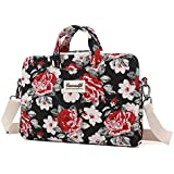 Canvaslife black Flower Laptop Shoulder Bag 11.6 Inch/ 12.5 Inch /13.3 Inch Laptop Briefcase for Macbook Air 11/macbook Air 13 /Macbook Pro 13/Dell/hp/lenovo/sony/toshiba/ausa/acer/samsung Laptop Case