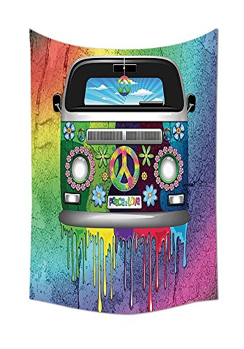 asddcdfdd Groovy Decorations Tapestry Old Style Hippie Van With Dripping Rainbow Paint Mid 60S Youth Revolution Movement Theme Bedroom Living Room Dorm Decor (Groovy Van)