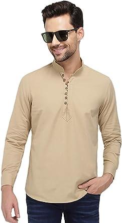 Nick&Jess - Camisa corta de algodón y lino para hombre, color beige