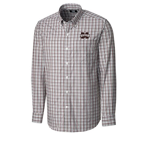 Cutter & Buck NCAA Mississippi State Bulldogs Men's Long Sleeve Gilman Plaid Shirt, Large, Bordeaux ()