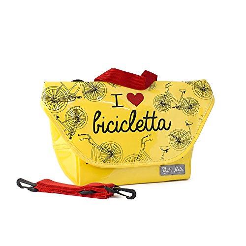 "Lenker-Fahrradtasche ""I love Bicicletta"" in gelb, original That´s Italia Kollektion"