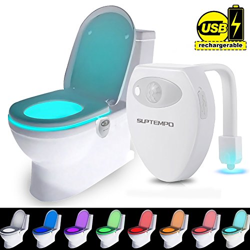 LED Toilet Bowl Night Light - Suptempo Waterproof Motion Activated Sensor Smart Nightlights Colorful Lights USB Rechargeable 8 Color Changing For Washroom Bathroom Water Closet ( 1 PCS )