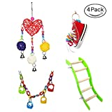 Parrot Chew Toys Bird Bite Wooden Blocks Rainbow Cage Hanging Decoration Toy for Beaks Nibbling Hammock Budgies Cockatiel (Parrot toy#5 4PCS)