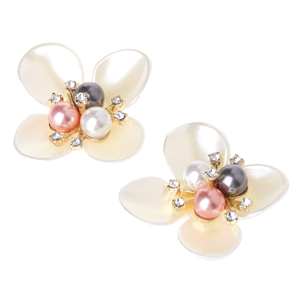 Simdoc DIY Women's Shoe Clips Buckles,Sequins Beads Flower Decorative Buckles Accessory Clothing Patch Charms For Women,Peck Of 2