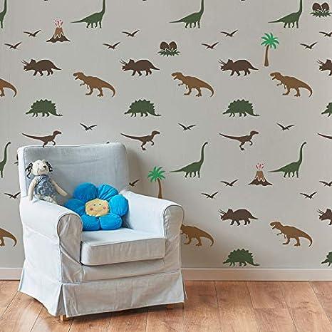 Wiederverwendbare Wandschablone aus Kunststoff //// 65x95cm //// Kinder Dinosaurier //// Muster Schablone Vorlage