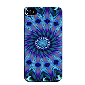 Skid-proof 3D And CG TPU Psychedelic Blues Navy For Iphone 4 Case Cover
