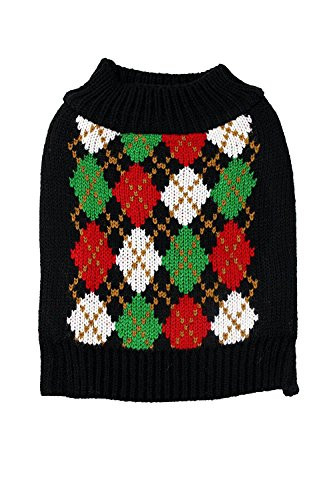 Midlee Christmas Argyle Dog Sweater (X-Small)