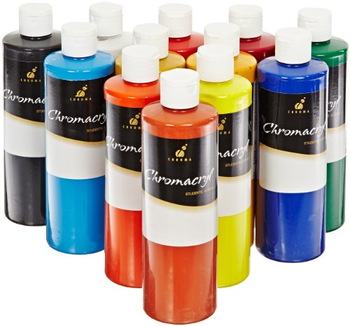 Chroma Chromacryl Premium Acrylic Paint - Pints - Set of 12 - Assorted Colors by Chroma