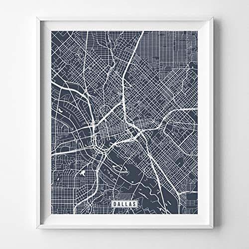 Amazon.com: Dallas Texas Map Print Street Poster City Road