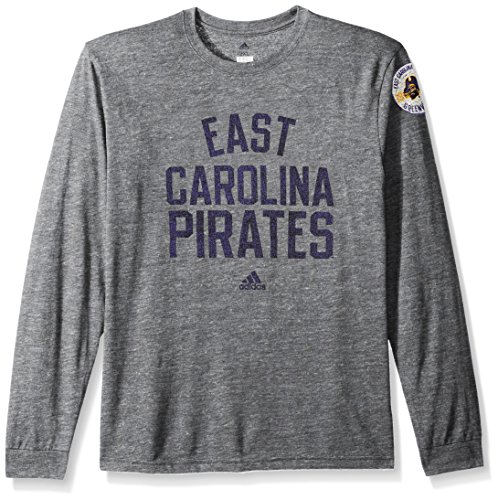 adidas NCAA East Carolina Pirates Adult Men Arched Heritage Tri-Blend L/S Tee, Large, Dark Grey ()
