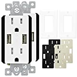 USB Outlet by TOPGREENER, USB Wall Outlet, TU21548A 4.8A 24W Ultra High Speed USB Wall Charger, 15A Tamper Resistant Receptacle, 2 Pack with Wall Plates, Interchangeable Face Covers