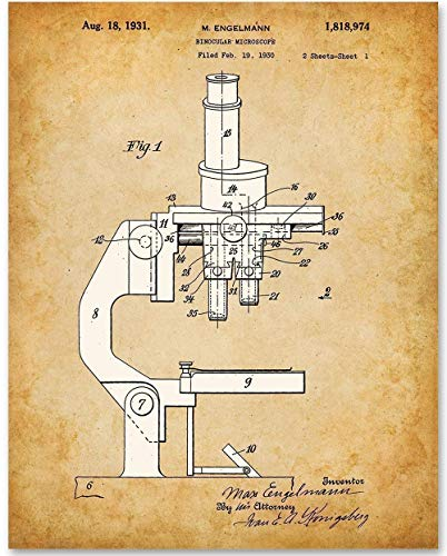 Compound Microscope - 11x14 Unframed Patent Print - Great Gift for Scientists and Doctors