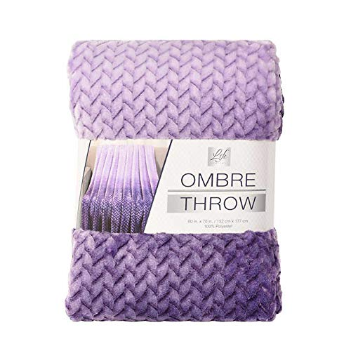Life Comfort Throw Blanket Purple 60 by 70 inches Super Soft Jacquard Ombre Pattern