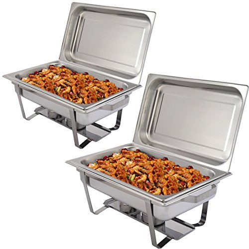 NEW 2 Pack of 9 Quart Stainless Steel Rectangular Chafing Dish Full Size (Chafing Dish Carrier)