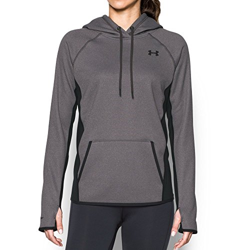 Under Armour Women's Storm Armour Fleece Icon Hoodie,Carbon Heather (090)/Black, (Under Armour Fleece Hoody)