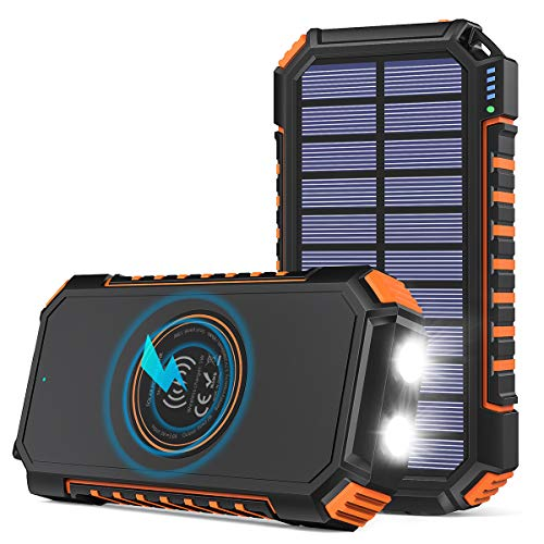 Solar Charger 26800mAh, Riapow Solar Power Bank 4 Outputs USB C Quick Charge Qi Wireless Portable Charger with LED…