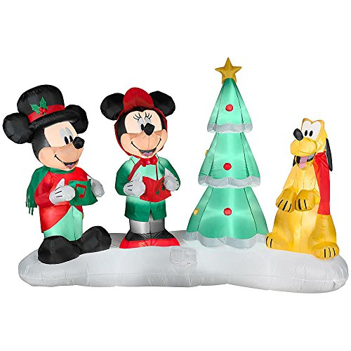Disney 7.5 Ft Mickey & Minnie Mouse w/ Pluto Christmas Carolers LightShow Airblown Inflatable - Plays 4 Songs w/ Remote by Gemmy