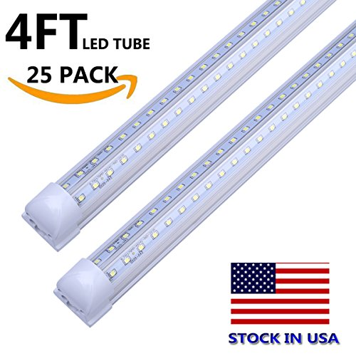 T8LED Tube Light Bulb, 4FT 36W, 80W Equivalent, T8 Shop Lighting, Double Side V Shape Integrated, Clear Cover, Cold White 6000K, AC85-265V, LED Cooler Door Lights - Pack of 25 Units by Jomitop