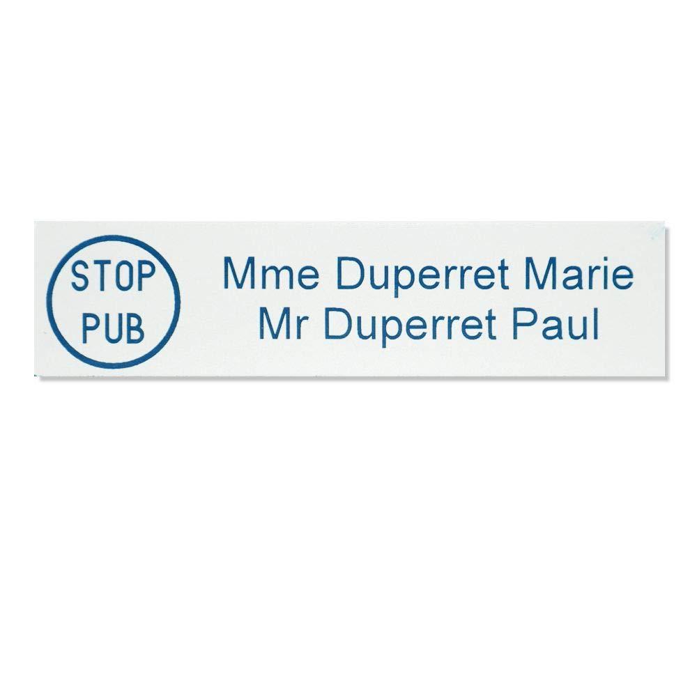 Plaque nom 1 ligne rouge lettres blanches 100x25mm STOP PUB pour boite aux lettres format Decayeux