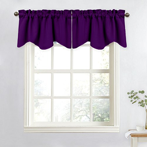 NICETOWN Window Curtain for Living Room - 52 inches by 18 inches Scalloped Valance Window Curtain (Royal Purple, 1 Panel) (Purple Valance Curtains)